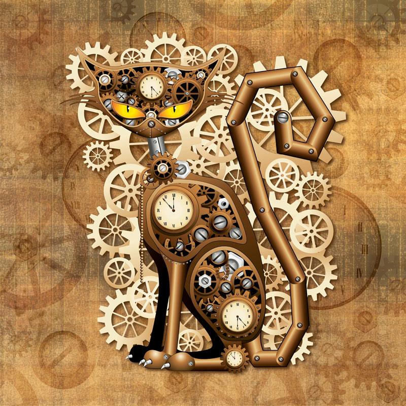 Steampunk Cat Vintage Style-Gatto Meccanico Surreale