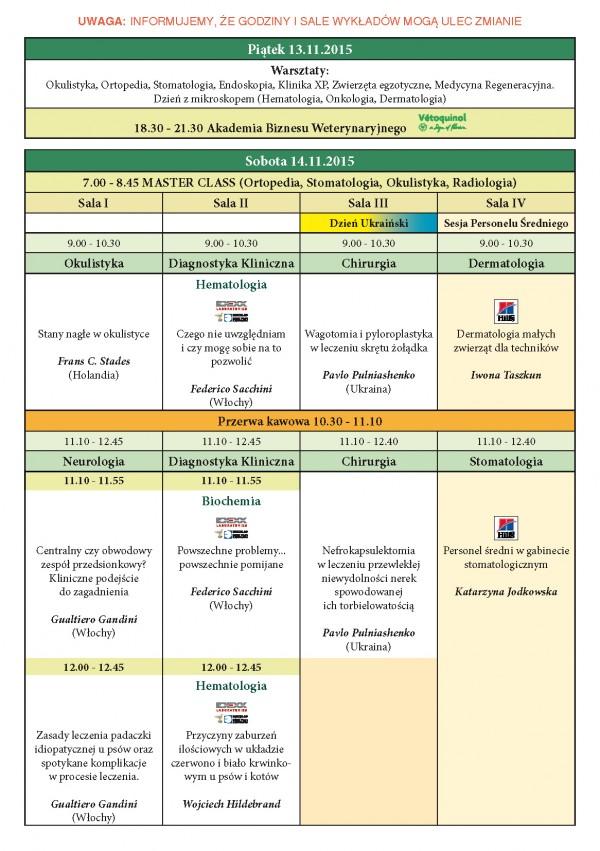 Program XXIII KONGRESU MEDYCYNY WETERYNARYJNEJ MAŁYCH ZWIERZĄT PSLWMZ, 13-15.11.2015 r._Strona_2