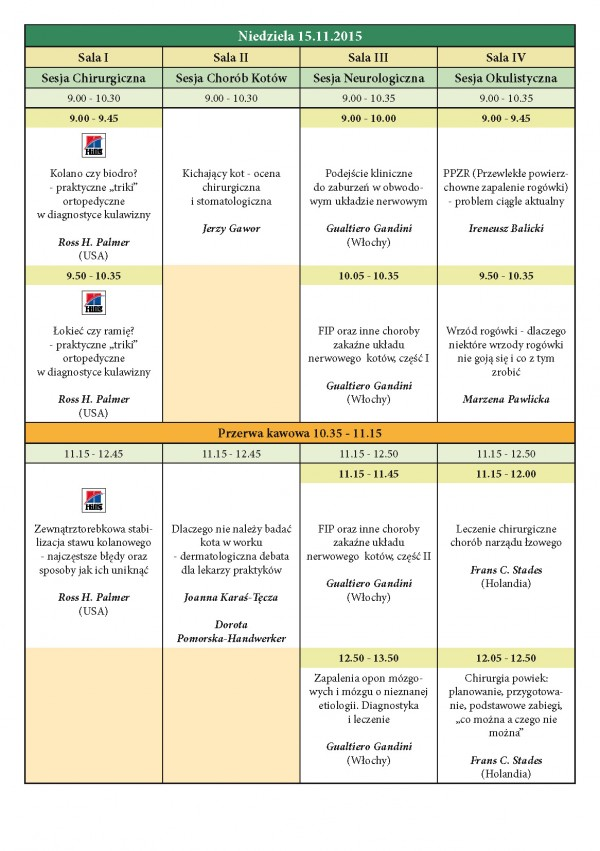 Program XXIII KONGRESU MEDYCYNY WETERYNARYJNEJ MAŁYCH ZWIERZĄT PSLWMZ, 13-15.11.2015 r._Strona_4