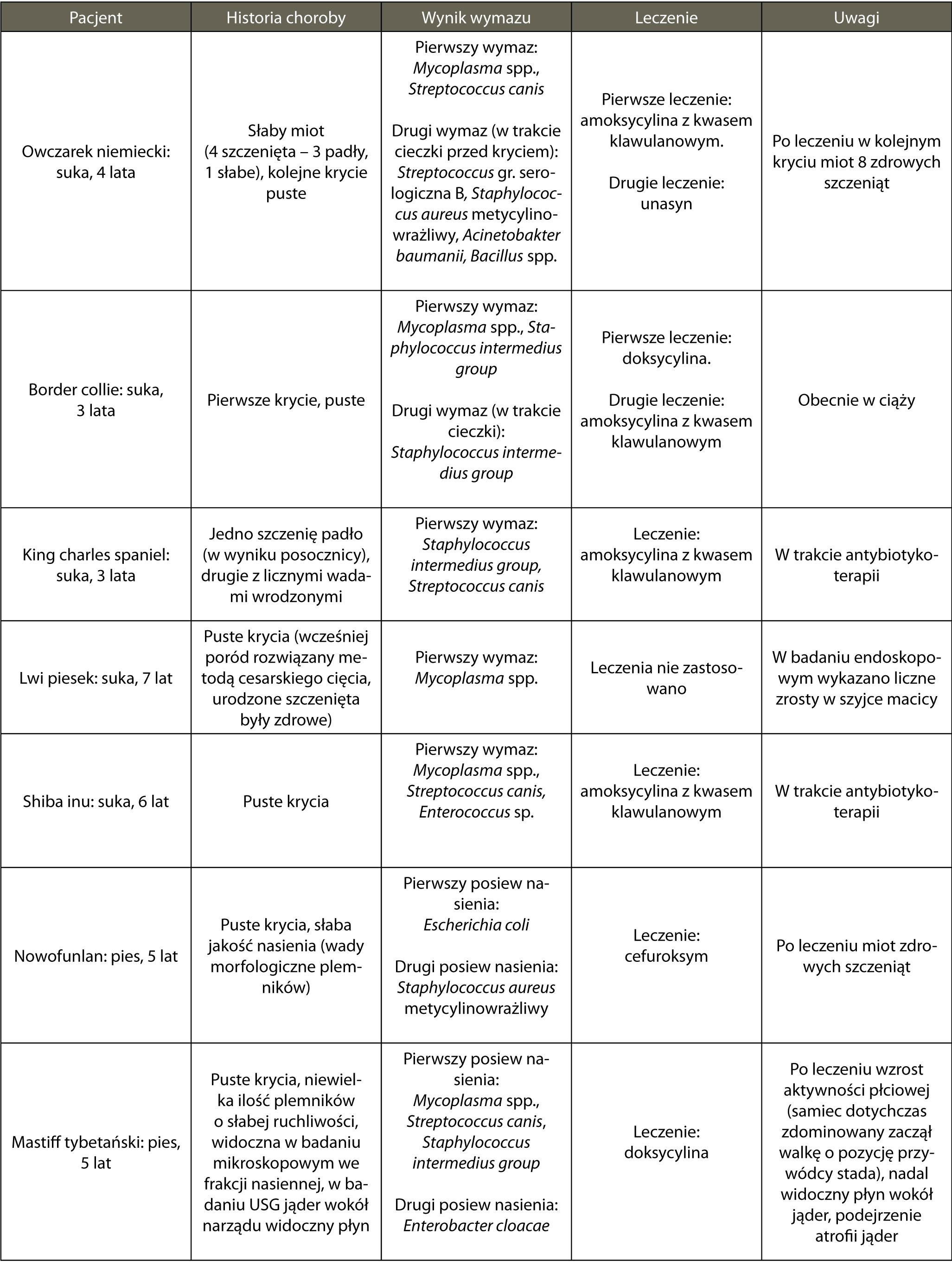 Tab. 1. Podsumowanie przypadków klinicznych związanych z zaburzeniami w rozrodzie, zebranych w ciągu ostatnich 6 miesięcy. Badanie mikrobiologiczne wykonano w laboratorium Idexx (profil rozrodczy psów obejmujący Mycoplasma spp. [wykrycie kwasu nukleinowego], Brucella canis [real-time PCR], Herpewirus typ 1 [real-time PCR], Chlamydia sp. – Ch. abortus, Ch. psittaci, Ch. caviae, Ch. felis [wykrycie kwasu nukleinowego metodą PCR], hodowla tlenowa bakterii. Leczenie zastosowano zgodnie z wynikami antybiogramu. Tabela obejmuje jedynie najistotniejsze informacje dotyczące historii choroby oraz opis niektórych badań, jakie zostały wykonane. Nie oznacza to, iż badania USG, hormonalne tarczycy, nasienia nie zostały przeprowadzone.